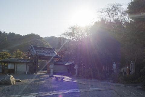 太平山 逆光の山門