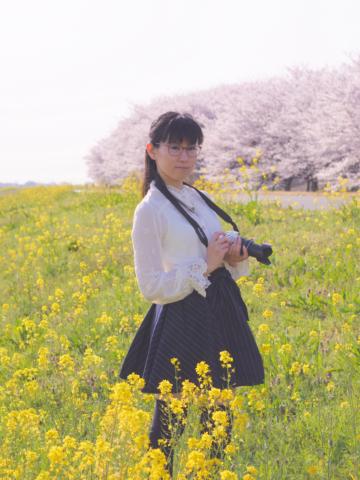 菜の花と桜と私