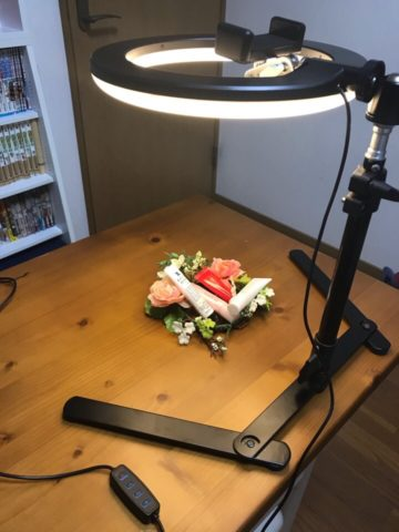 スマホ撮影用LEDリングライトでの撮影風景