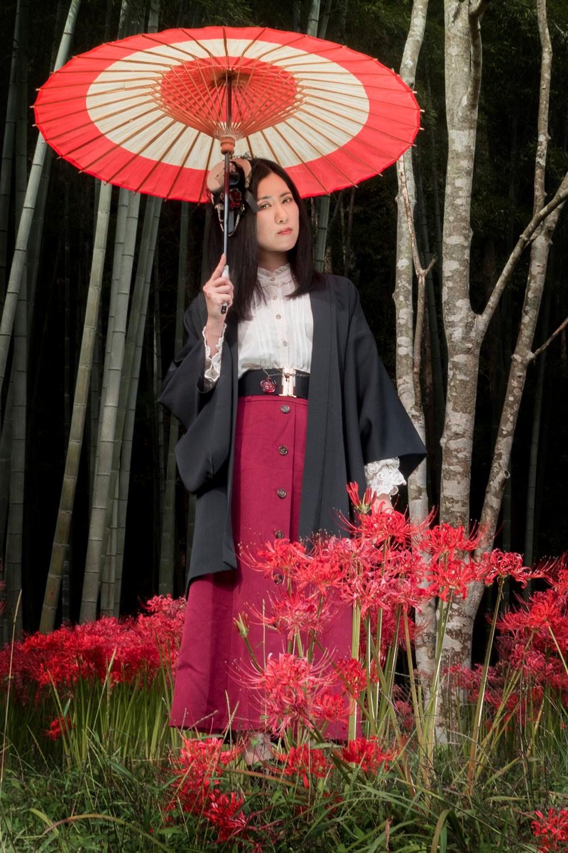 和傘と和装コーデ