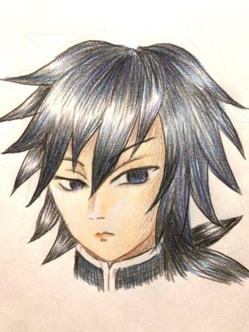 色鉛筆で描いた義勇さん